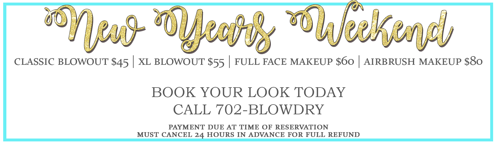 New Years 2016 - Call To Book Now